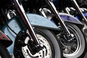 row of motorcycle wheels